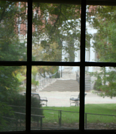 Jesse Hall seen through a window of Tate Hall (pre-renovation)