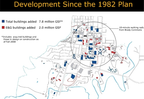 Fig. 1. A campus map displaying the development of new  structures (in red/blue) since 1982.