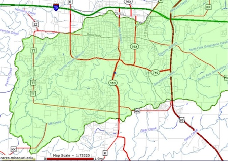 Fig 2. Image showing the Hinkson Creek watershed in central Columbia. Campus falls within this area.