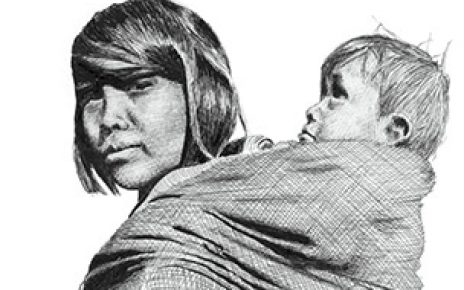 Sioux Woman and Child