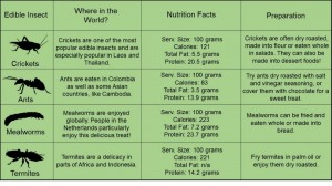 This table shows locations, nutritional facts, and serving suggestions for four commonly eaten insects.